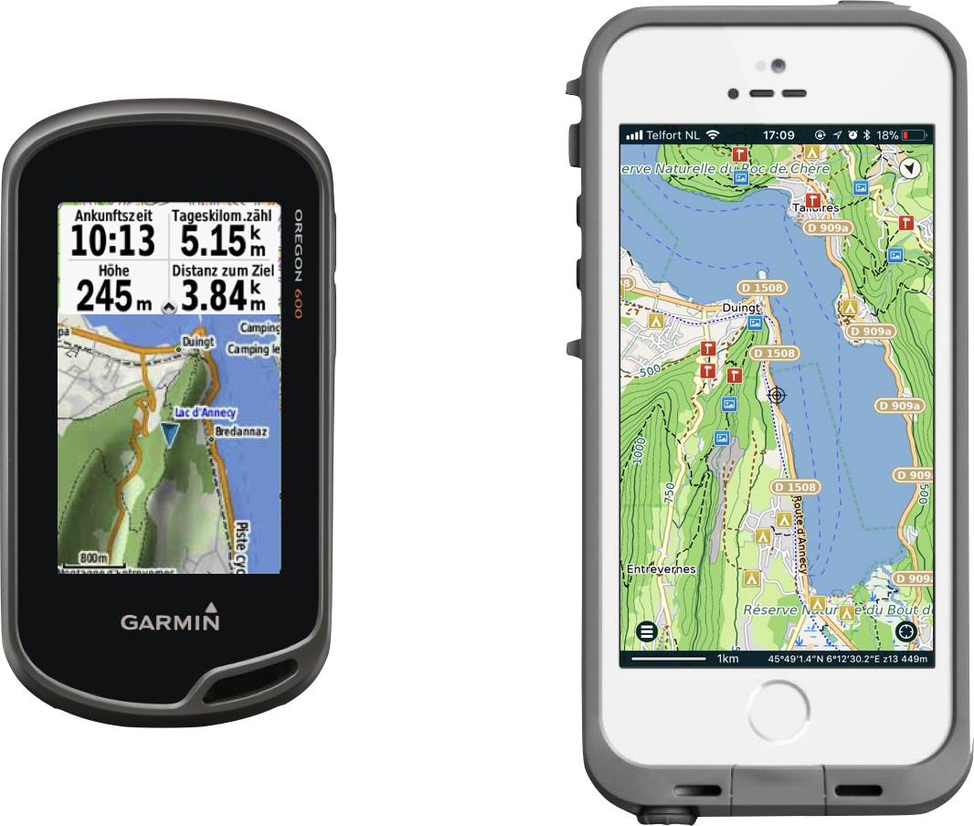 Garmin Oregon 600 versus iPhone SE/5/5s